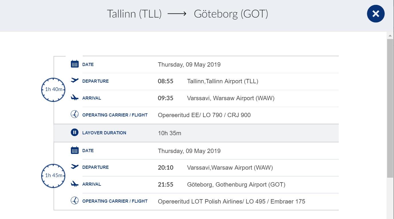 Göteborgi liin toimib läbi Varssavi.